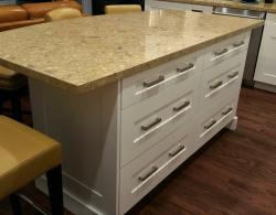 Island providing dining area plus ample storage drawers