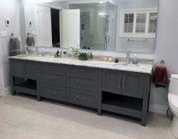 Benjamin Moore Trout Gray; Stonewave porcelain flooring, Kestle Interiors