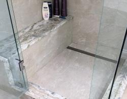 Shower seat, Fantasy Brown natural stone Kestle Interiors design