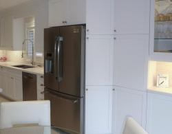 """24""""-deep angled pantry unit, with additional 13""""-deep pantry unit to the right"""
