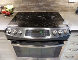 Slide-in electric range in stainless steel