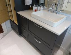Quartz countertop, Desert Silver by Silestone; Brome shaker-door style, Charcoal finish