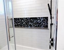 Bathroom shower niche, unique tiling, Kestle Interiors Newmarket Designs