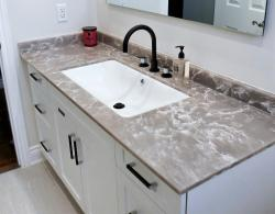 Complete bathroom renovation with quartz countertop Bradford