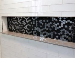 Stoneglass Black Hexago mosaic shower niche Kestle Interiors
